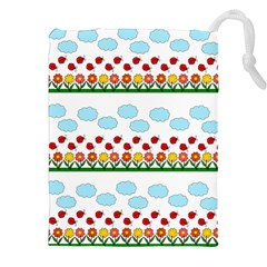 Ladybugs And Flowers Drawstring Pouches (xxl)