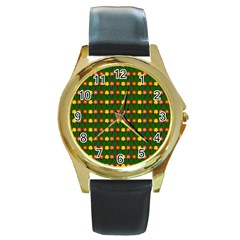 Flowers Round Gold Metal Watch