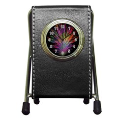 Fractal In Many Different Colours Pen Holder Desk Clocks by Simbadda