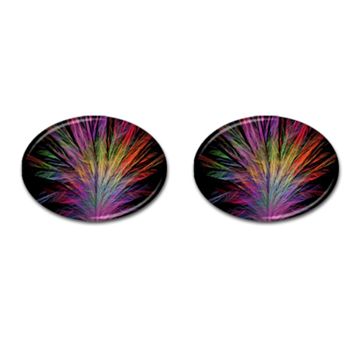 Fractal In Many Different Colours Cufflinks (Oval)