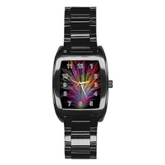 Fractal In Many Different Colours Stainless Steel Barrel Watch