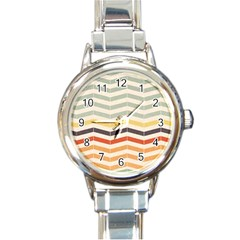 Abstract Vintage Lines Round Italian Charm Watch by Simbadda