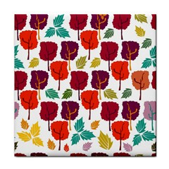 Colorful Trees Background Pattern Tile Coasters by Simbadda