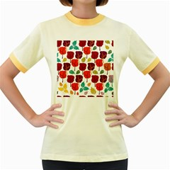 Colorful Trees Background Pattern Women s Fitted Ringer T Shirts