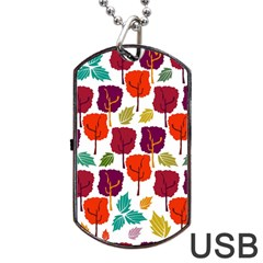 Colorful Trees Background Pattern Dog Tag Usb Flash (two Sides) by Simbadda