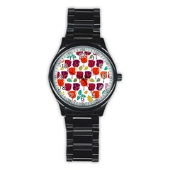 Colorful Trees Background Pattern Stainless Steel Round Watch