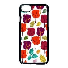 Colorful Trees Background Pattern Apple Iphone 7 Seamless Case (black) by Simbadda