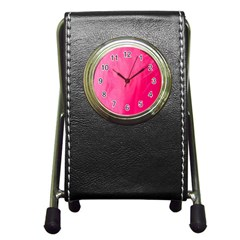 Very Pink Feather Pen Holder Desk Clocks by Simbadda