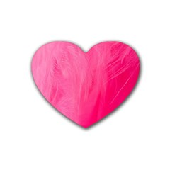 Very Pink Feather Rubber Coaster (heart)