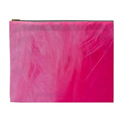 Very Pink Feather Cosmetic Bag (xl) by Simbadda