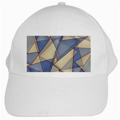 Blue And Tan Triangles Intertwine Together To Create An Abstract Background White Cap by Simbadda