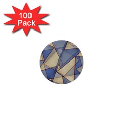 Blue And Tan Triangles Intertwine Together To Create An Abstract Background 1  Mini Buttons (100 Pack)  by Simbadda