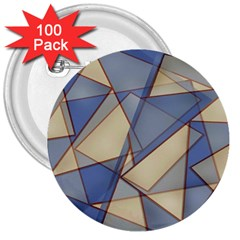 Blue And Tan Triangles Intertwine Together To Create An Abstract Background 3  Buttons (100 Pack)