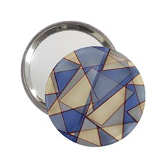 Blue And Tan Triangles Intertwine Together To Create An Abstract Background 2 25  Handbag Mirrors by Simbadda