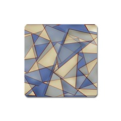 Blue And Tan Triangles Intertwine Together To Create An Abstract Background Square Magnet by Simbadda