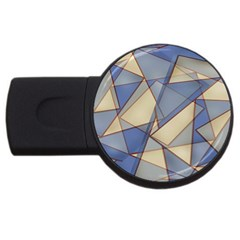 Blue And Tan Triangles Intertwine Together To Create An Abstract Background Usb Flash Drive Round (2 Gb) by Simbadda