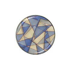 Blue And Tan Triangles Intertwine Together To Create An Abstract Background Hat Clip Ball Marker (4 Pack)