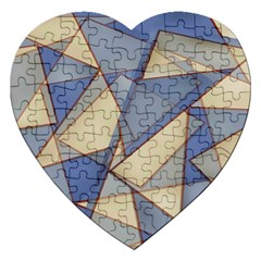 Blue And Tan Triangles Intertwine Together To Create An Abstract Background Jigsaw Puzzle (heart) by Simbadda