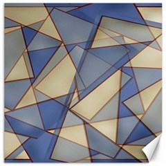 Blue And Tan Triangles Intertwine Together To Create An Abstract Background Canvas 20  X 20   by Simbadda