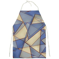 Blue And Tan Triangles Intertwine Together To Create An Abstract Background Full Print Aprons by Simbadda