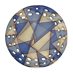 Blue And Tan Triangles Intertwine Together To Create An Abstract Background Round Filigree Ornament (two Sides) by Simbadda