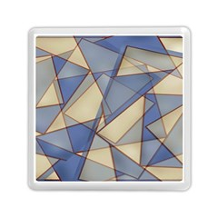 Blue And Tan Triangles Intertwine Together To Create An Abstract Background Memory Card Reader (square)  by Simbadda