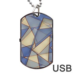 Blue And Tan Triangles Intertwine Together To Create An Abstract Background Dog Tag Usb Flash (two Sides) by Simbadda