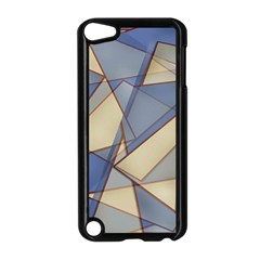 Blue And Tan Triangles Intertwine Together To Create An Abstract Background Apple Ipod Touch 5 Case (black) by Simbadda