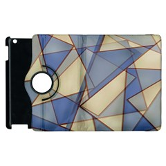 Blue And Tan Triangles Intertwine Together To Create An Abstract Background Apple Ipad 2 Flip 360 Case by Simbadda