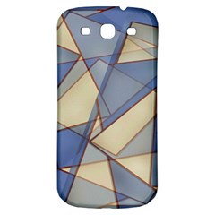 Blue And Tan Triangles Intertwine Together To Create An Abstract Background Samsung Galaxy S3 S Iii Classic Hardshell Back Case by Simbadda