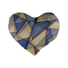 Blue And Tan Triangles Intertwine Together To Create An Abstract Background Standard 16  Premium Heart Shape Cushions by Simbadda