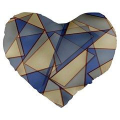 Blue And Tan Triangles Intertwine Together To Create An Abstract Background Large 19  Premium Heart Shape Cushions by Simbadda