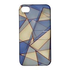 Blue And Tan Triangles Intertwine Together To Create An Abstract Background Apple Iphone 4/4s Hardshell Case With Stand by Simbadda