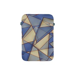 Blue And Tan Triangles Intertwine Together To Create An Abstract Background Apple Ipad Mini Protective Soft Cases by Simbadda