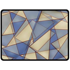 Blue And Tan Triangles Intertwine Together To Create An Abstract Background Double Sided Fleece Blanket (large)