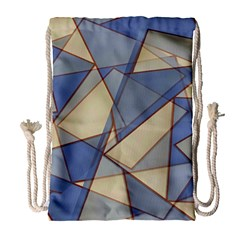 Blue And Tan Triangles Intertwine Together To Create An Abstract Background Drawstring Bag (large)