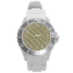 Abstract Seamless Pattern Round Plastic Sport Watch (l)