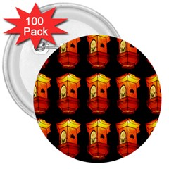 Paper Lanterns Pattern Background In Fiery Orange With A Black Background 3  Buttons (100 Pack)