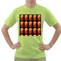 Paper Lanterns Pattern Background In Fiery Orange With A Black Background Green T Shirt by Simbadda
