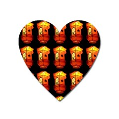 Paper Lanterns Pattern Background In Fiery Orange With A Black Background Heart Magnet by Simbadda