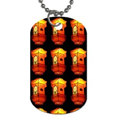 Paper Lanterns Pattern Background In Fiery Orange With A Black Background Dog Tag (one Side) by Simbadda