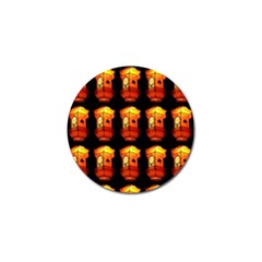 Paper Lanterns Pattern Background In Fiery Orange With A Black Background Golf Ball Marker by Simbadda