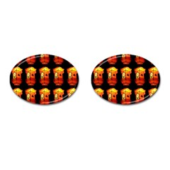 Paper Lanterns Pattern Background In Fiery Orange With A Black Background Cufflinks (oval) by Simbadda