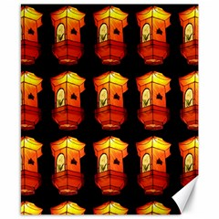 Paper Lanterns Pattern Background In Fiery Orange With A Black Background Canvas 8  X 10  by Simbadda