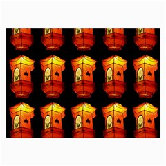 Paper Lanterns Pattern Background In Fiery Orange With A Black Background Large Glasses Cloth (2 Side) by Simbadda