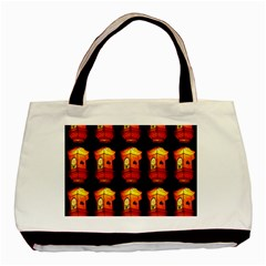 Paper Lanterns Pattern Background In Fiery Orange With A Black Background Basic Tote Bag (two Sides) by Simbadda