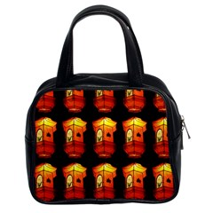 Paper Lanterns Pattern Background In Fiery Orange With A Black Background Classic Handbags (2 Sides) by Simbadda
