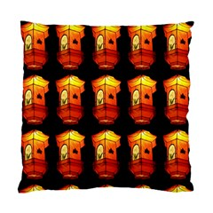 Paper Lanterns Pattern Background In Fiery Orange With A Black Background Standard Cushion Case (one Side) by Simbadda