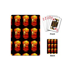 Paper Lanterns Pattern Background In Fiery Orange With A Black Background Playing Cards (mini)  by Simbadda
