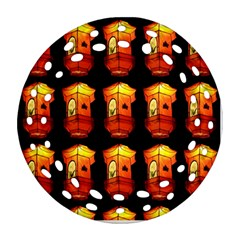 Paper Lanterns Pattern Background In Fiery Orange With A Black Background Round Filigree Ornament (two Sides) by Simbadda